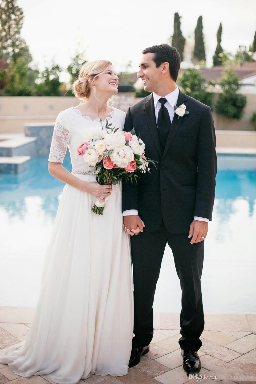 Encaje blanco vestidos de novia Vinatge vestidos de novia medias mangas con cuentas de gasa de la gasa barato modesto boda nupcial Gownd