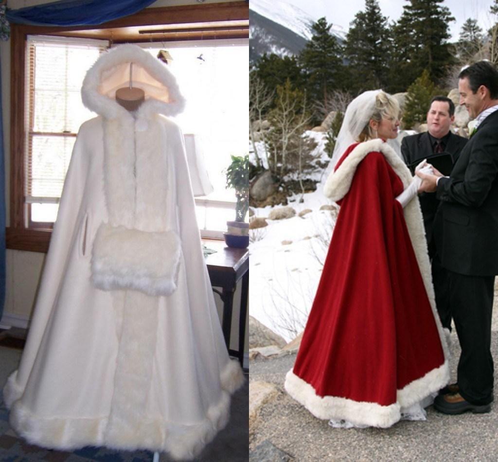 رخيصة العرسان كيب العاج مذهل الزفاف عباءات مقنعين مع فو الفراء تريم الكاحل طول أحمر أبيض مثالي للشتاء مخصص الأغطية سترات
