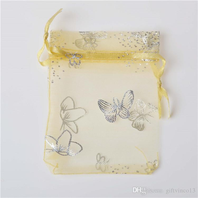 Colorful Organza Bags Silver Butterfly Mesh Drawstring Bag Small Jewelry Pouch Wedding Favor Gift Bag Holder Mixed