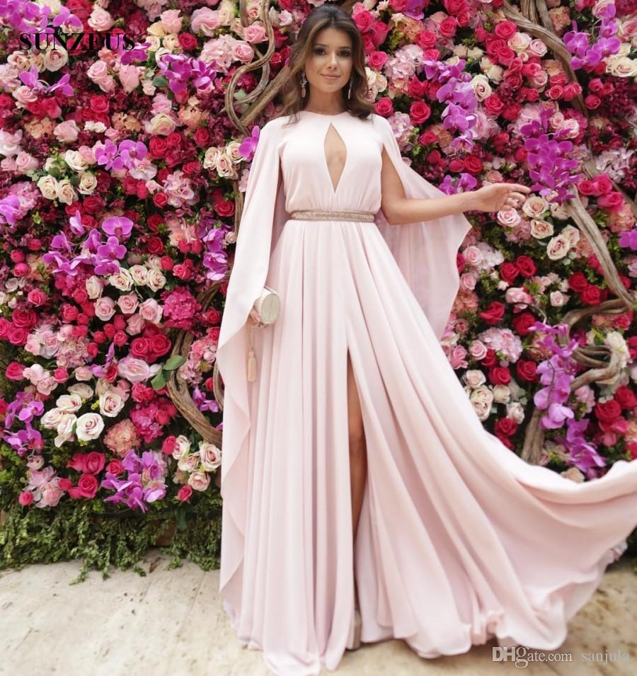 Pale Pink Chiffon Long Party Dress With Wrap Back A Line Cape Sleeve  Keyhole Front Elegant Evening Gowns Formal Wear Party Wear Dresses Plus  Size ...