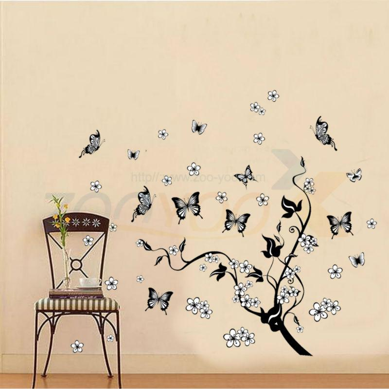 Flying Butterfly Around The Black Tree Vine Floral Wall Decal Home  Decoration Butterfly Flowers Tree Wall Stickers Zypa 7005 Wall Decals For Home  Decor Wall ...