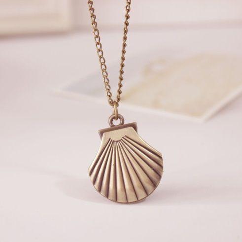 New stainless steel shell girls pocket watch necklace pendant watch 5 aloadofball Gallery