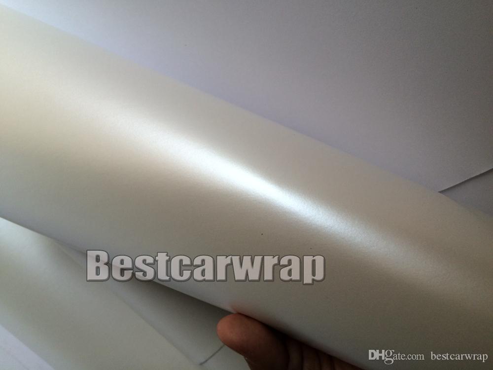 قسط الساتان اللؤلؤ الأبيض الفينيل التفاف ل سيارة التفاف السينمائي بيرليسسينت سيارة التفاف السينمائي سيارة كاملة تغطي مع الهواء مجانا 1.52x20 متر 5x67ft