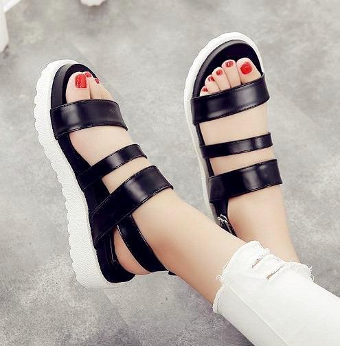 Casual Stylish Leather Platform Sandals Summer Shoes White Black Comfortable  Shoes Size 35 to 39 Leather Platform Sandals Online with  37.8 Piece on ...