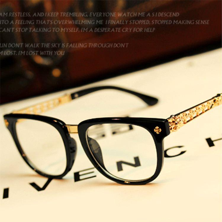Men Women Name Brand Designer Plain Glasses Metal Frame Computer ...