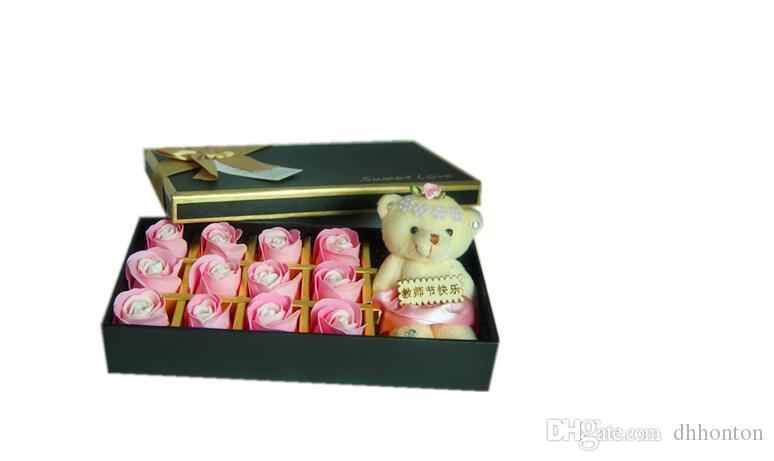 Valentine's day gifts, lovely bear and 18 soap roses wedding gift box of soap SR10
