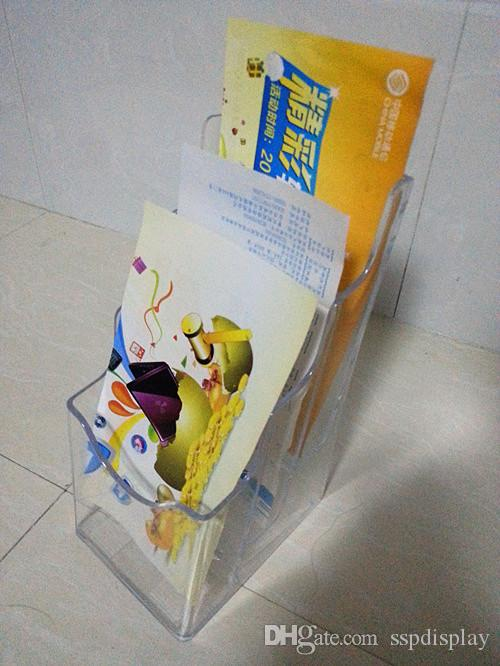 Clear A6 Three Tiers Pamphlet Brochure Literature Plastic Display Holder Stand To Insert Leaflet On Desktop By Express