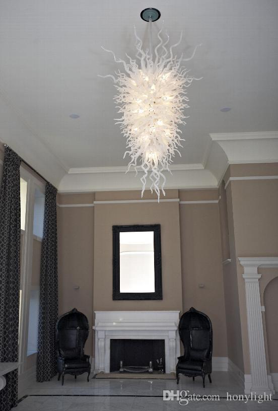 Lüks Beyaz Cam Kristal Avize Aydınlatma LED Ampuller AC 110-240 v Ev Dekorasyon Kolye Işık El Üflemeli Cam Zincir Asılı Avize