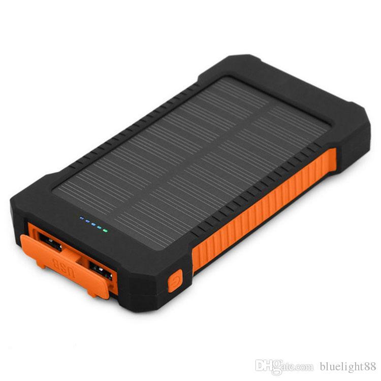 20000mAh Solar Power Bank 2 USB-Port-Ladegerät Externe Backup-Batterie mit Kleinkasten für Xiaomi Samsung CellPhone