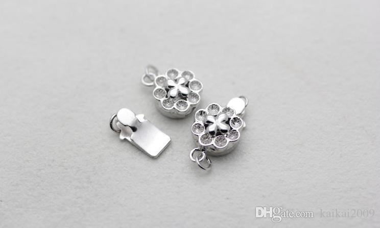 Großhandelsschöne Perlen-Schmucksache-Zusätze natürliche Perlenhalskettenarmband 925 silberne Pflaumenblütenschnalle YPJ94