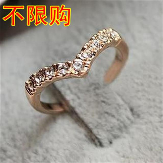 Korean Jewelry V Type V Shaped Unique Design Simple Models Diamond