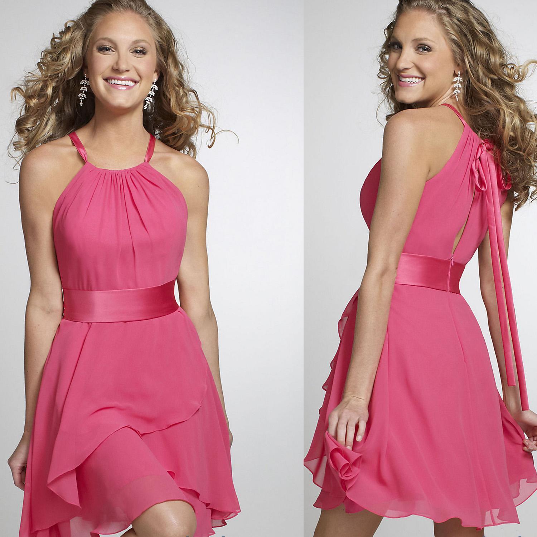 2015 Sexy Chiffon Halter Fuschia Cocktail Dresses Plus Size Short ...