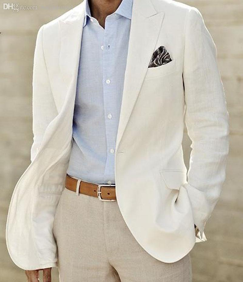 Online Cheap Wholesale Custom Made To Measure Mens White Linen ...