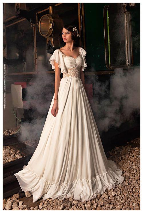 2015 Vintage Strand Chiffon Brautkleider Scooped Flügelärmeln A Line-Spitze Vestidos de Novia Elegante Brautkleider