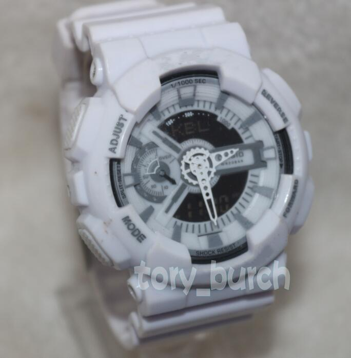 White Color Plate G110 Sports Watches LED Chronograph Wristwatch ... 3c799af849
