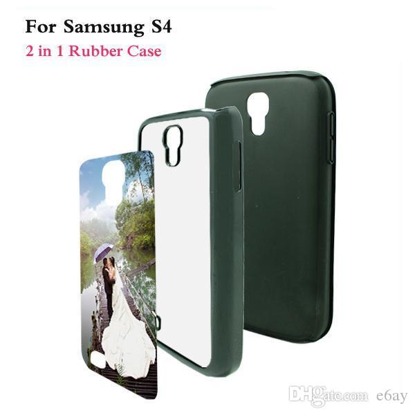 Samsung Galaxy S4 TPU+PC 2 in 1 DIY Sublimation Heat Press Cell Phone Cases With Metal Aluminium Plates For Samsung S4 DHL Free