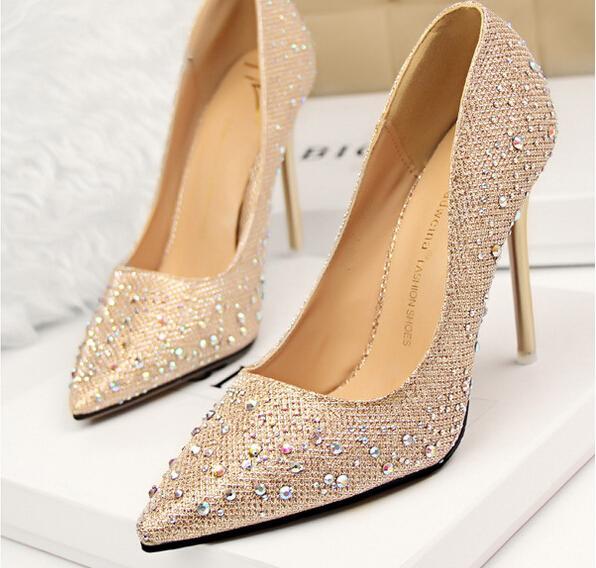 compre 2015 zapatos de novia de diamantes de imitación zapatos de