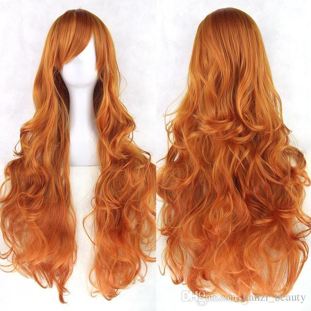 hanzi_beauty 8 Farben Frauen Perücke Hitzebeständig Rosa Schwarz Blau Rot Gelb Weiß Blonde Lila Wellenförmige Cosplay Perücken 80 cm