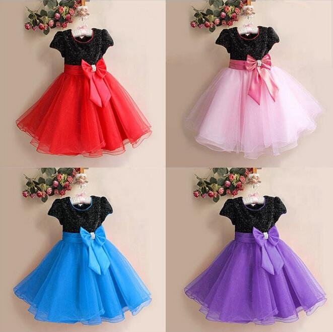 560362c8dd19 Hot Seller Christmas Dress Black + Red Bow Tie Lace Dress Girls ...