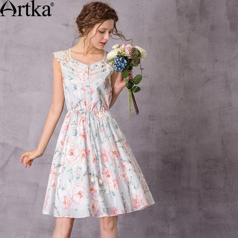 89f43cdbb3a 201711 Artka женские цветочные платья 2017 летнее платье свободного покроя  кружевном платье женщины старинные платья плюс размер роковой LA11078C