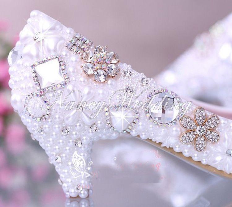 فاخر أنيق تقليد لؤلؤة حفل زفاف الرقص أحذية أحذية الزفاف الكريستال الماس الأحذية بكعب منخفض امرأة سيدة والاحذية