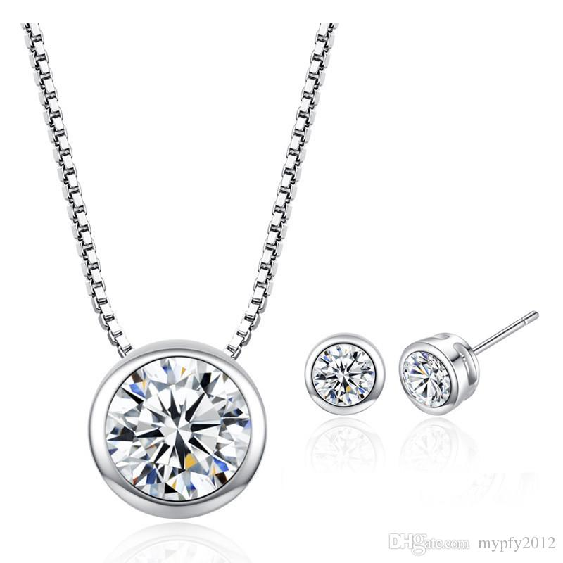 Round CZ Zircon Solitaire Pendants Necklaces Stud Earring Jewelry Sets For Women New Fashion Simple Silver Chain Necklaces BF