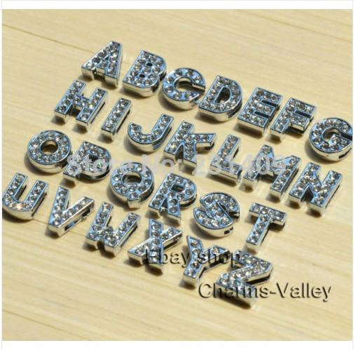 small metal letters 8mm az full rhinestone english slide letters diy accessory can through 8 mm brand belt crimp end beads cheap crimp end beads small