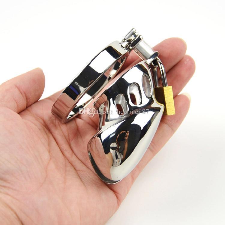 Nuovo dispositivo di castità in metallo Punch di castità in acciaio inox Cock Cage Chastity Belt Cock Ring Giocattoli BDSM Bondage Prodotti del sesso gli uomini