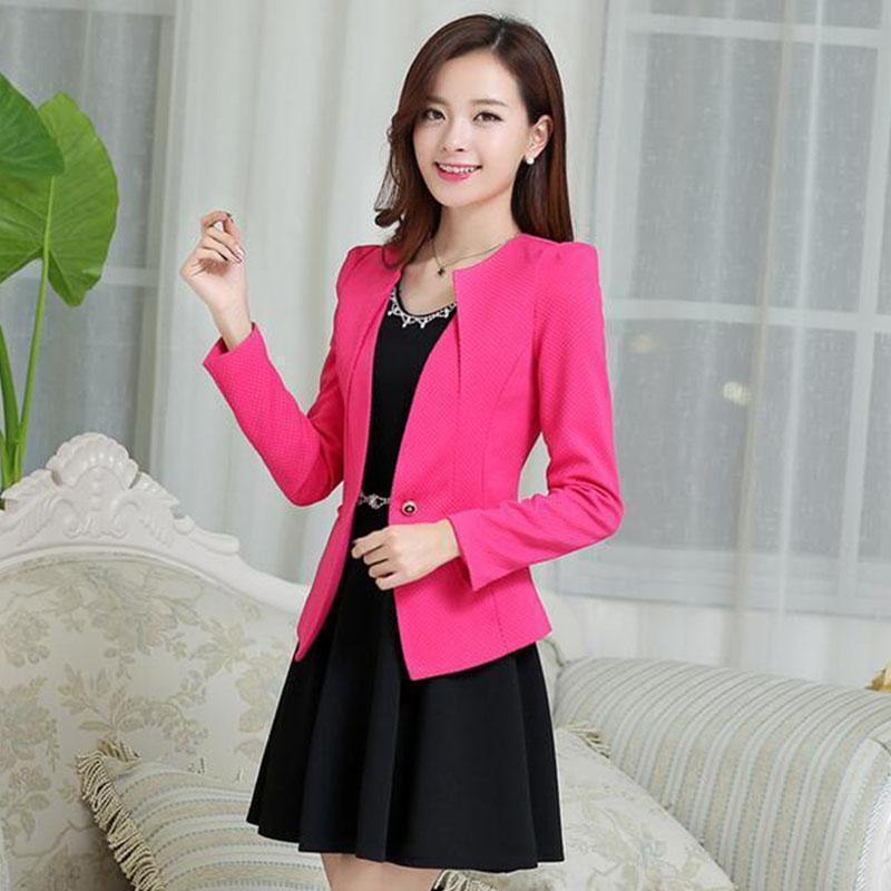 2018 New Fashion Casual Jacket Long Sleeve Spring Women Slim Blazer Coat One Button Suit Ladies Blazers Work Wear