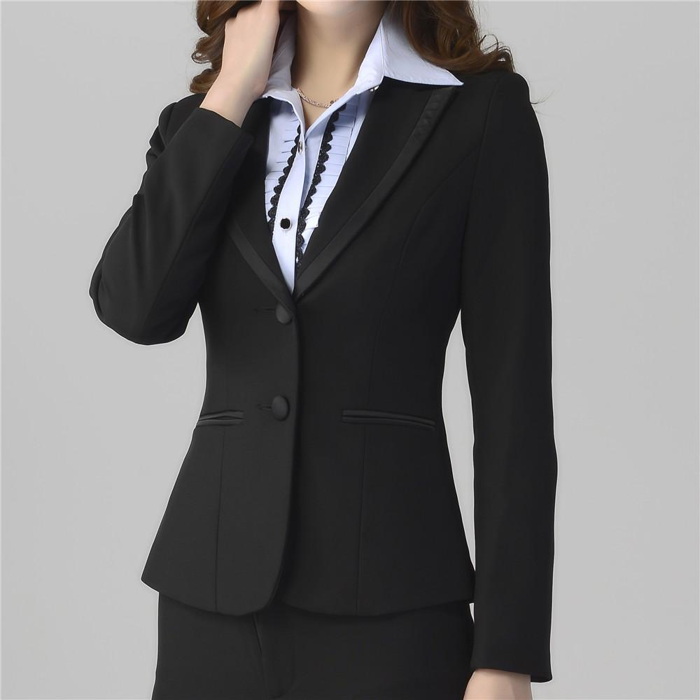 fddf689184134 2019 Plus Size Women Workwear Pant Suits Ladies Fall Formal Office Work  Suits Slim Elegant Blazer And Pants 9053 From Mscecilia