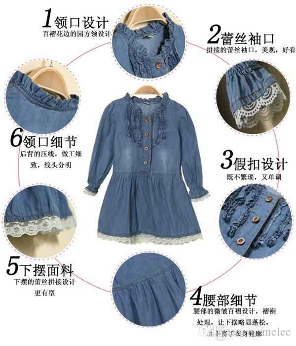 2015 New Girls Kids 2-8Y Denim Blue Beautiful Lace Cowboy Clothes Long Sleeved denim Dress 2-8T