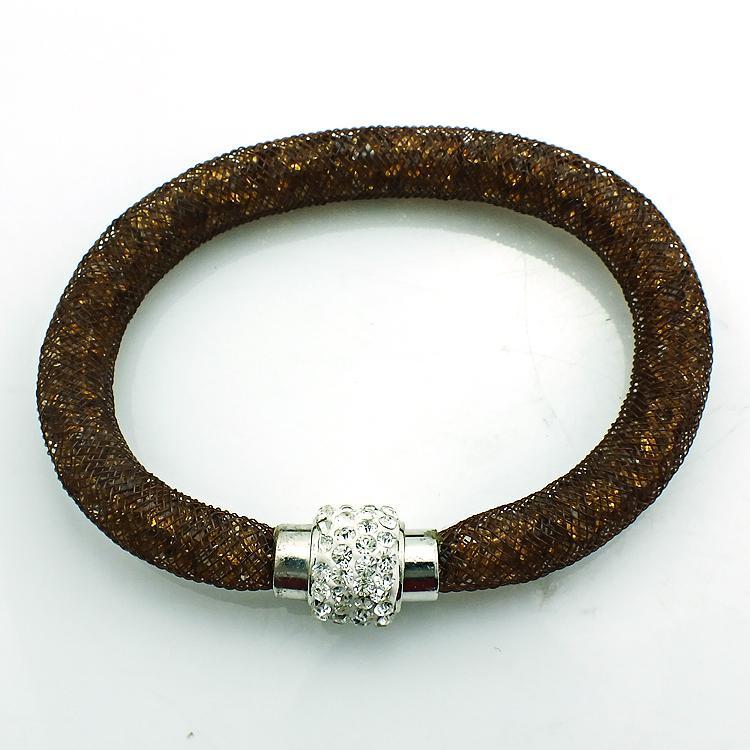 Mix продажи мода манжеты браслеты Кристалл сетки магнитная застежка Бесконечности цепи 10 Цвет DIY браслеты браслеты ювелирные изделия