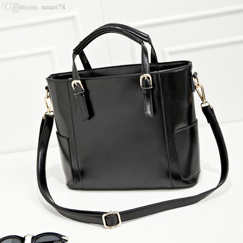 Wholesale-Woman Handbags Designers Brand Cow Leather Bucket Bags Rivet Ladies  Shoulder Bag Black Luxury Brand Fashion Party Handbag BH290 Handbag Clutch  ... 3c723fa691