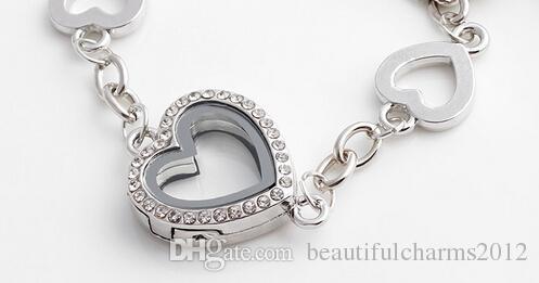 / magnétique Coeur flottant Médaillon Bracelet avec strass verre Living Memory Médaillon Bangles pour les femmes