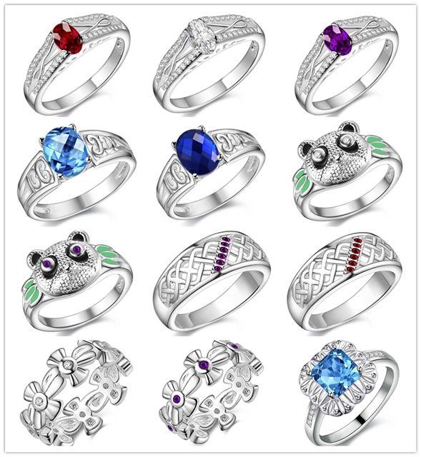 Красивый дизайн стерлингового серебра 925 палец кольцо Кристалл мода ювелирные изделия рождественские подарки для женщин заказ смешивания бесплатная доставка /много