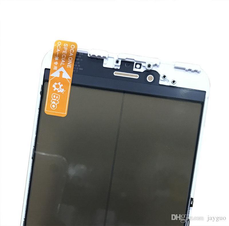4 em 1 imprensa fria frente tela frontal de vidro com o quadro + o polarizador para iphone 7 6 6 s plus 5 5s substituição da tela