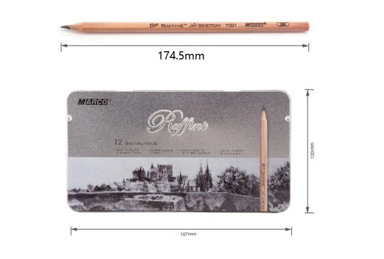 Marco professional artist sketch drawing pencils set 9B-3H tin box lapices de grafito de alta calidad Cuadro lapiz