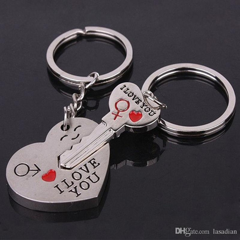 i love you heart arrow key couple key chain ring keyring