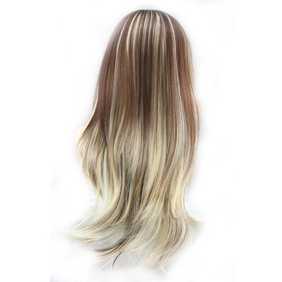 WoodFestival pelucas sintéticas mujeres ligeramente ondulado peluca de fibra resistente al calor de alta calidad pelucas baratas dama larga mezcla de color peluca rubia