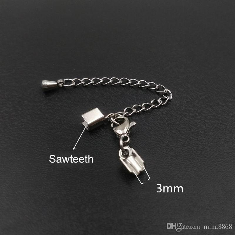 Top Quality Jewelery 1.5/2/3mm stainless steel Lobster clasp fit Leather Cord End Clasps Lobster Clasp with Extend Chain for DIY Jewelry