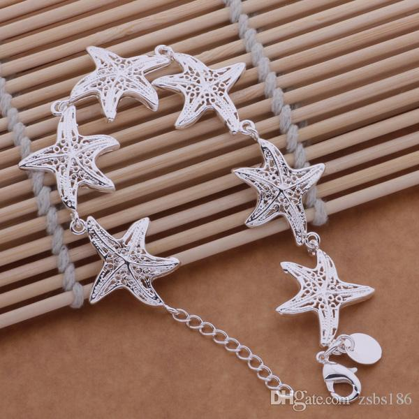 Diseño lindo 925 pulseras del encanto de las estrellas de mar de plata de ley joyería de moda para el partido mujer sexy precio de Fábrica envío gratis