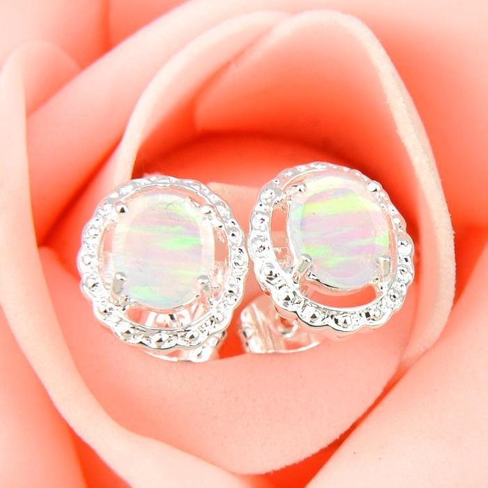 Toptan 3 Çift / grup Anne Hediye Beyaz Oval Yangın Opal Kristal Taş 925 Ayar Gümüş Kaplama ABD Damızlık Düğün Küpe
