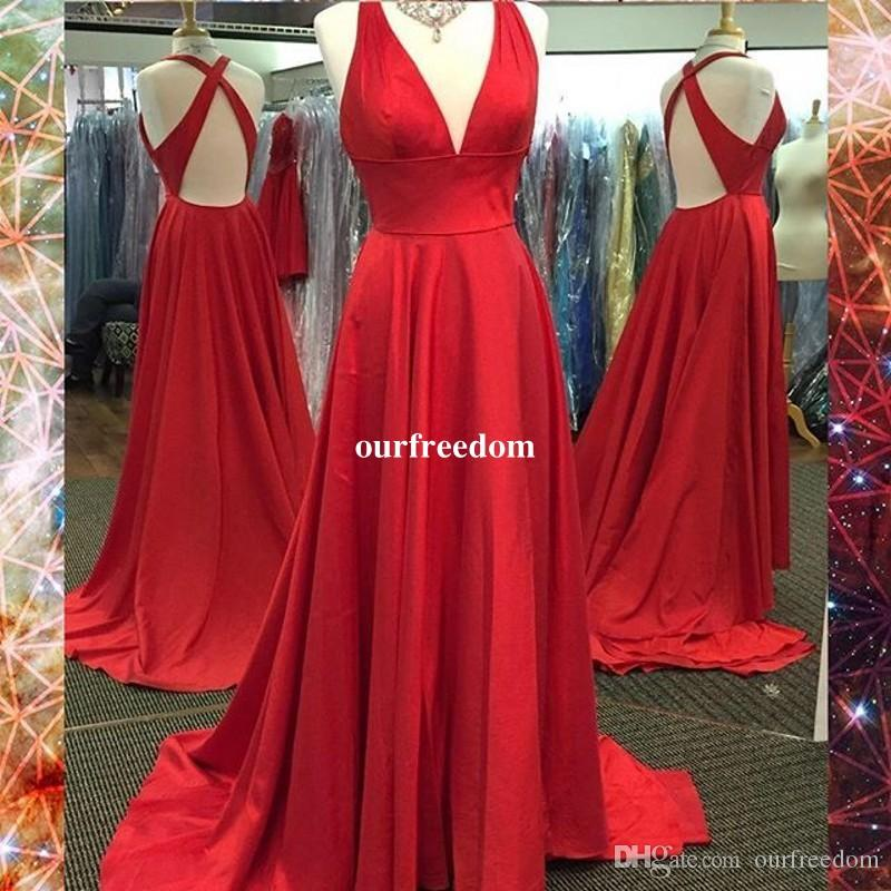 2019 Economici Red V Neck Prom Dresses Satin Sweep Train Sexy Side Split Backless Mermaid Abiti da sera formale Occasioni Custom Made Cheap