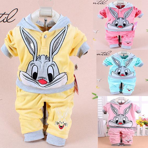 Wholesale- Retail Baby Girl Cute little rabbit Clothing Sets Kids Velvet Suits Infant Tracksuits Sports Sets Outwear Cartoon Hoodies Suit