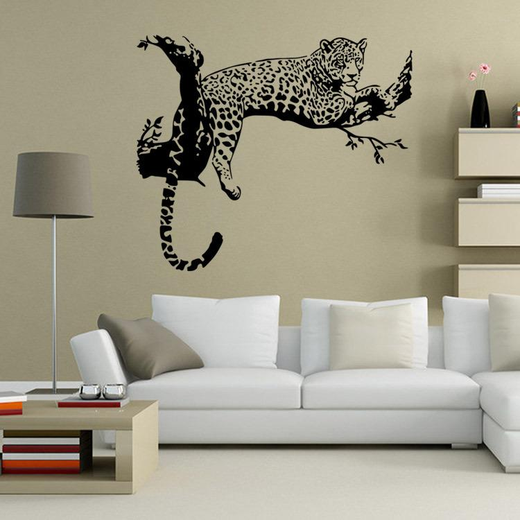 Cm Black White Tiger On The Tree Wall Stickers For Kids Rooms - Wall decals 2016