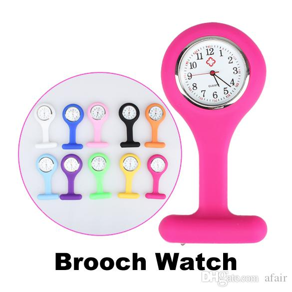 2016 Christmas gift Nurse Medical watch Silicone Clip Pocket Watches Fashion Nurse Brooch Fob Tunic Cover Doctor silicon Quartz watches