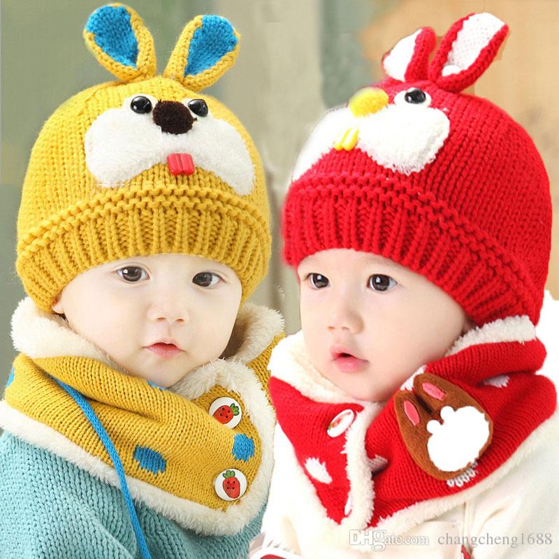 Unisex Children Knitted Caps And Scarf Winter Warm Suit Set Baby