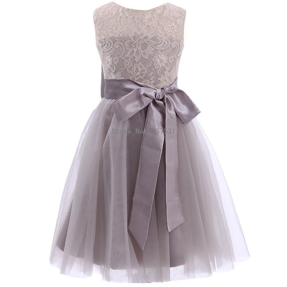2018 New Lace Tulle Pretty Grey Tutu Flower Girl Dresses Plus Size