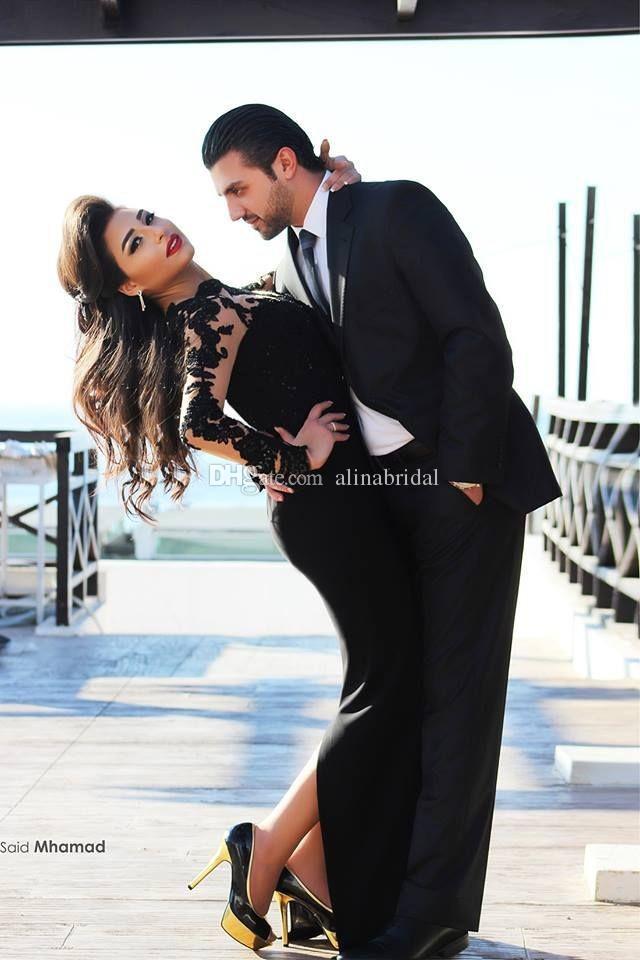 Vestido de noche árabe de manga larga con encaje negro Vestido de fiesta largo con cuello alto sirena larga 2015 Vestido De Festa Marroquí Kaftan Islámico Abaya