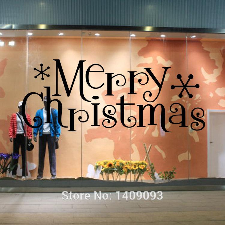 Window stickers quotes 2016 merry christmas decoration store window decals diy vinilo wall art home decor for living room removable wall decal removable